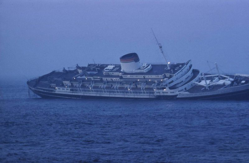 Image result for andrea doria begins to sink after collision in north atlantic